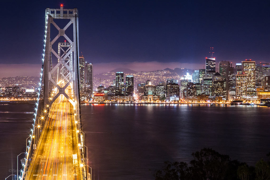 san francisco - oakland bay bridge at night